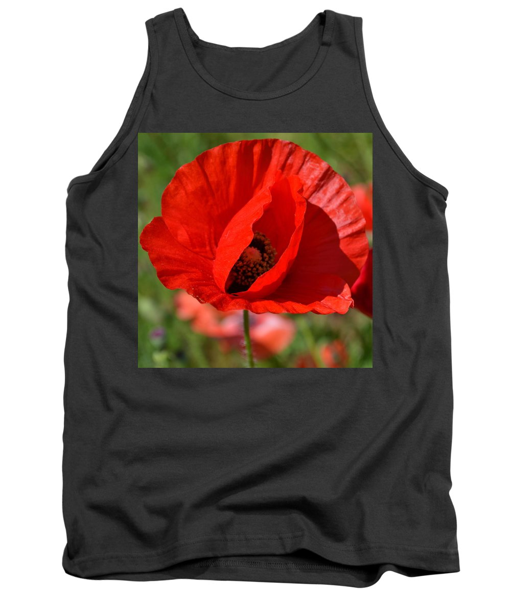 Poppy Tank Top featuring the photograph Red Poppy 2 by Katy Hawk