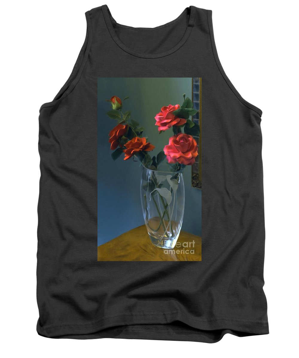Red Roses In A Vase Tank Top featuring the painting Red Roses In A Vase by Liane Wright