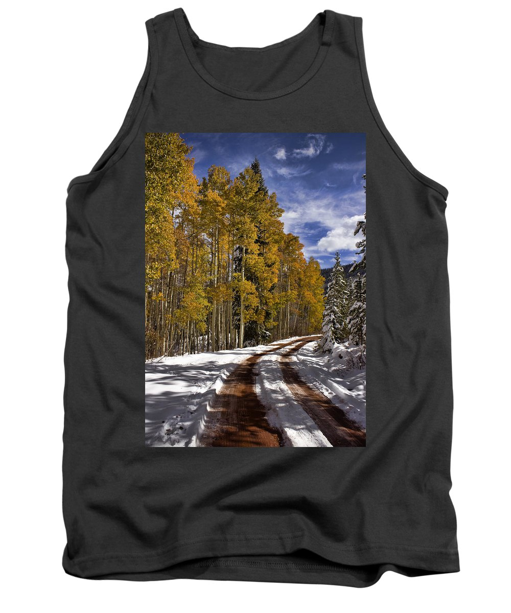 Road Tank Top featuring the photograph Red Sandstone Road In October by Ellen Heaverlo