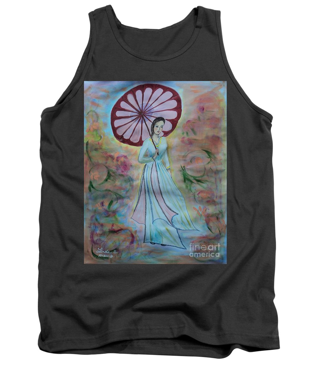 Woman With Red Umbrella Tank Top featuring the painting Red Umbrella by Linda Lin