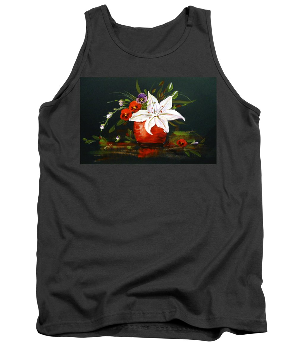 Flowers Tank Top featuring the painting Red Vase With Lily And Pansies by Dorothy Maier