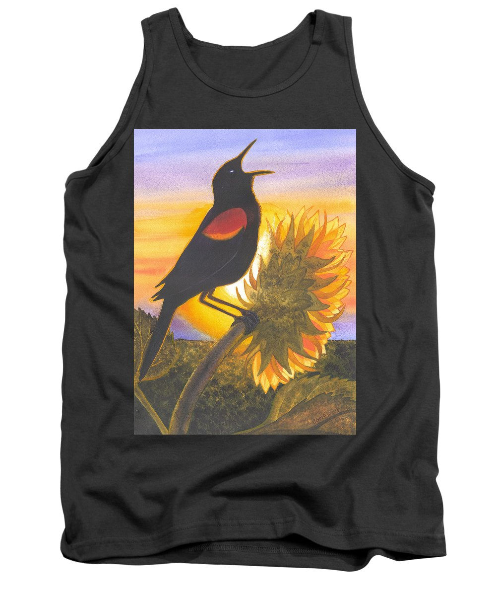 Bird Tank Top featuring the painting Red-wing Blackbird by Catherine G McElroy