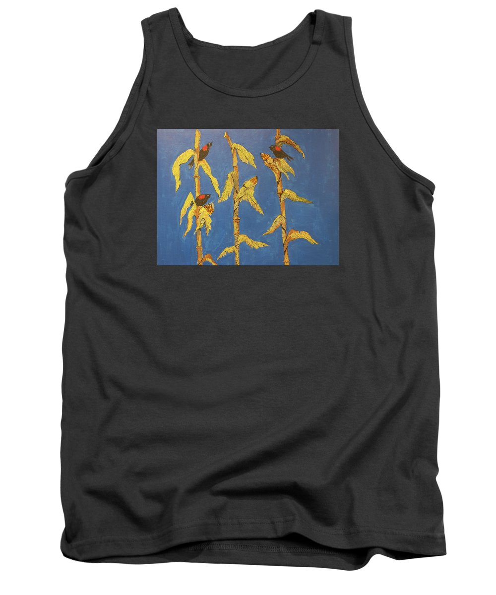 Wildlife Tank Top featuring the painting Red Wing Blackbirds In The Corn by Ken Blacktop Gentle
