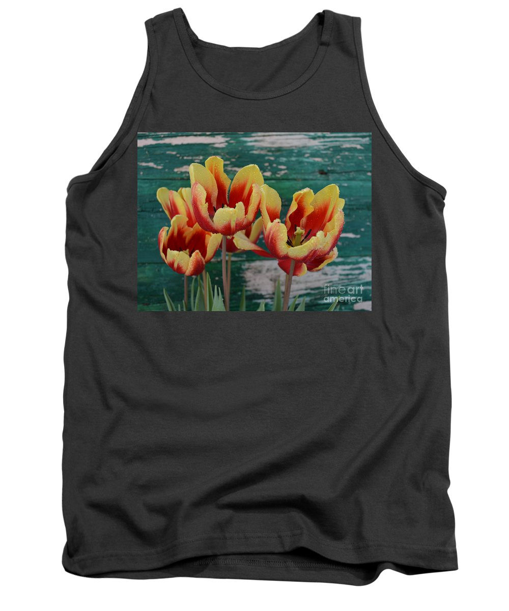 Tulip Tank Top featuring the mixed media Red Yellow Tulips by To-Tam Gerwe