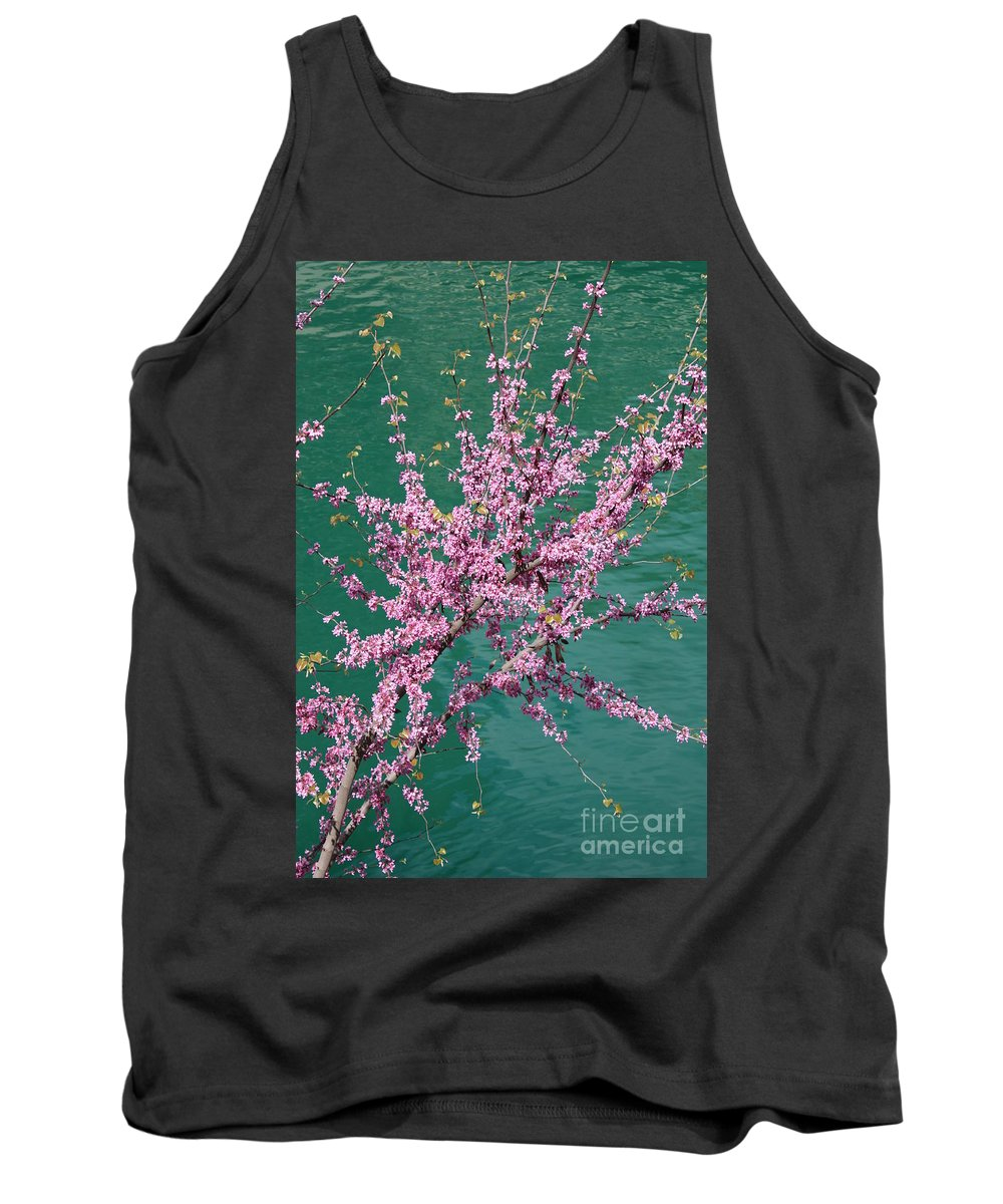 Redbud Tank Top featuring the photograph Redbuds Over San Antonio River by Carol Groenen