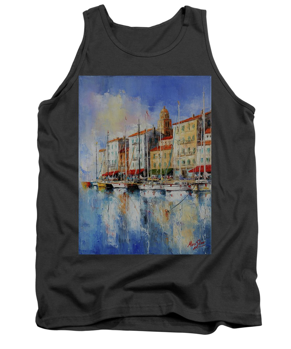 Seascapes Tank Top featuring the painting Reflection - St.tropez - France by Miroslav Stojkovic