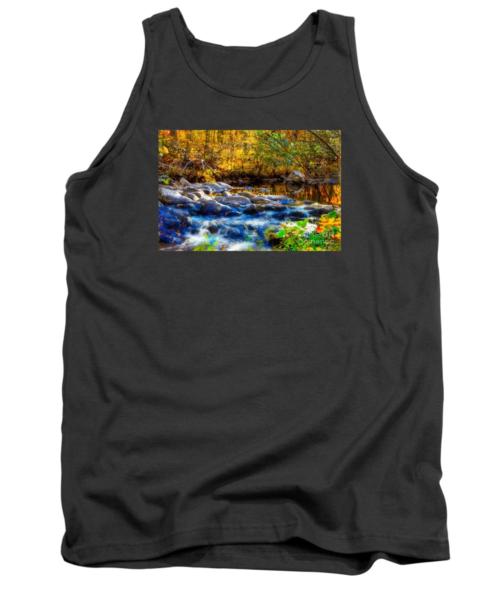 Autumn Reflection Tank Top featuring the photograph Reflection Of Autumns Natural Beauty by Peggy Franz