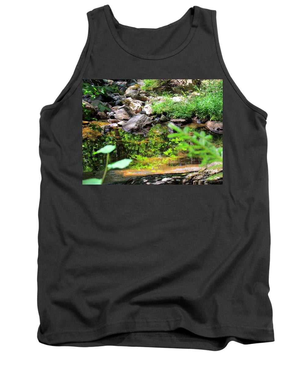 Reflections Tank Top featuring the photograph Reflections In The Stream by Elizabeth Dow