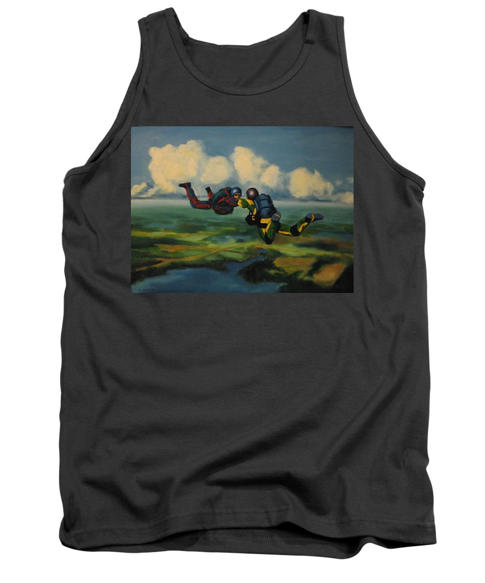 Skydivers Tank Top featuring the painting Relative Work by John Malone