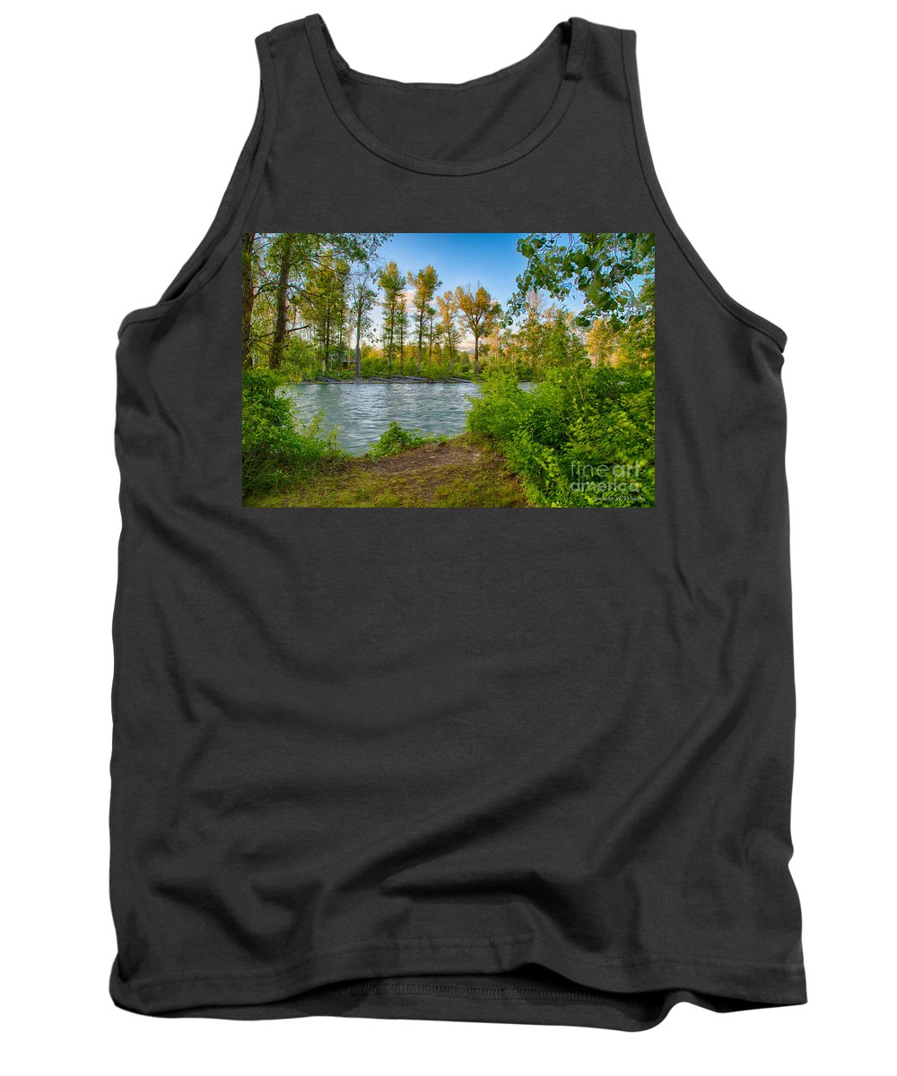 2014 Tank Top featuring the digital art Relax By The Methow Rivers Edge by Omaste Witkowski