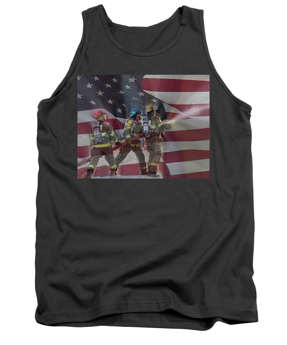 Firefighters Tank Top featuring the digital art Remember Them by Ernie Echols