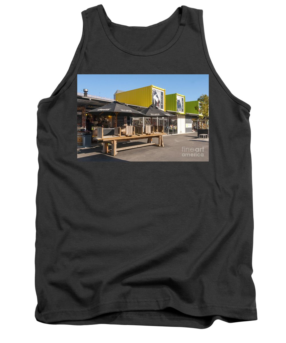Christchurch New Zealand Earthquake Restart Container Store Stores Shop Shops Containers Structure Structures Architecture City Cities Cityscape Cityscapes Tank Top featuring the photograph Restart Containers by Bob Phillips