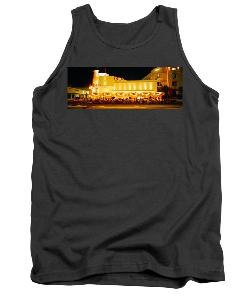 Photography Tank Top featuring the photograph Restaurant Lit Up At Night, Miami by Panoramic Images