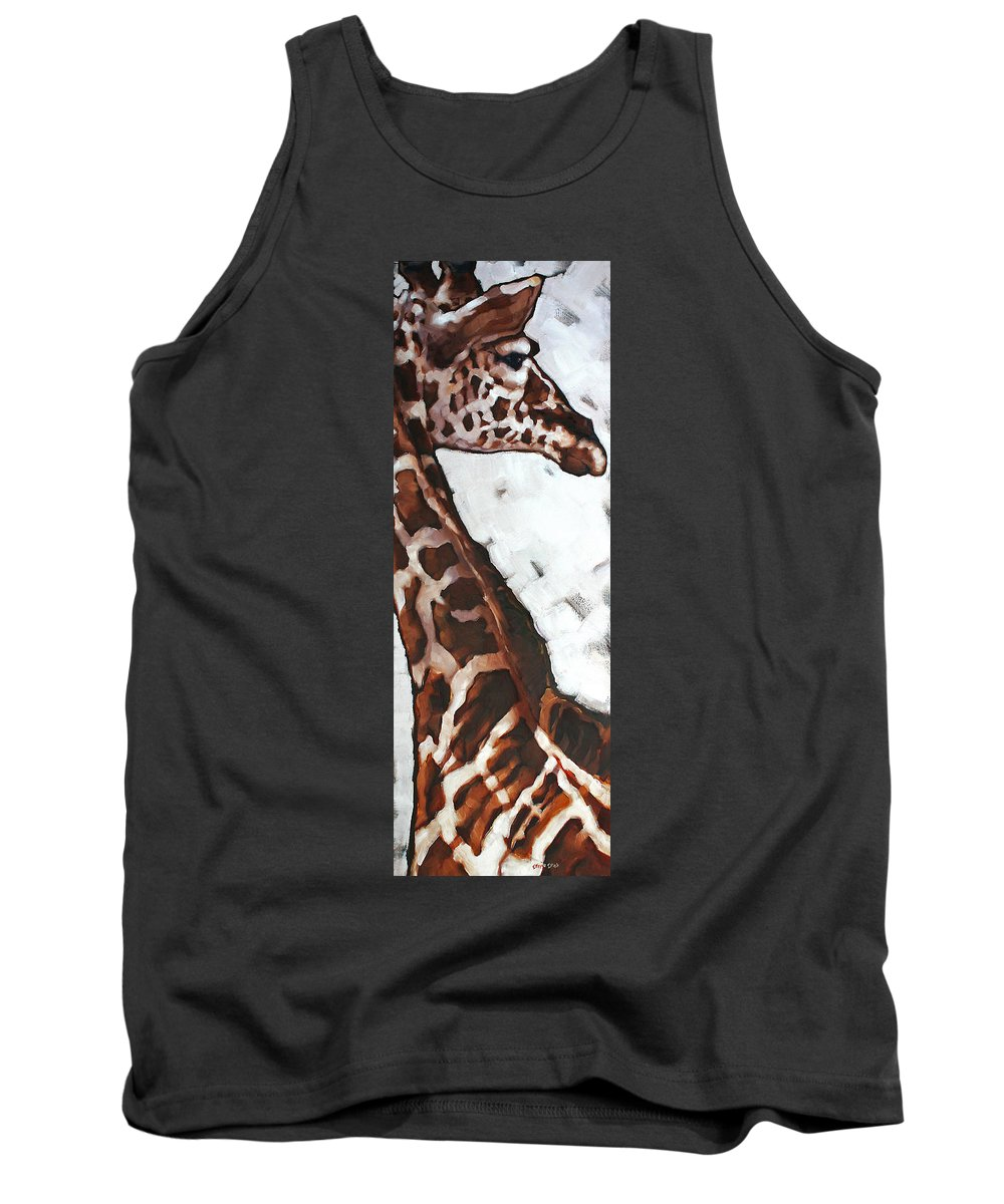 Animals Tank Top featuring the painting Reticulated Giraffe by Carrie Cook