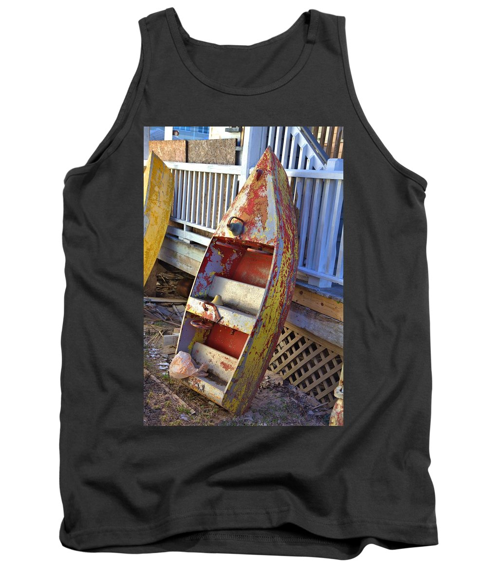 9399 Tank Top featuring the photograph Retired Amusement Ride Boat by Gordon Elwell