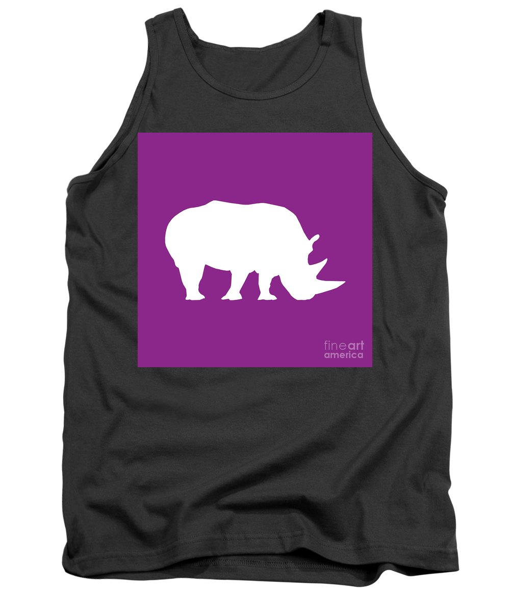 Graphic Art Tank Top featuring the digital art Rhino In Purple And White by Jackie Farnsworth