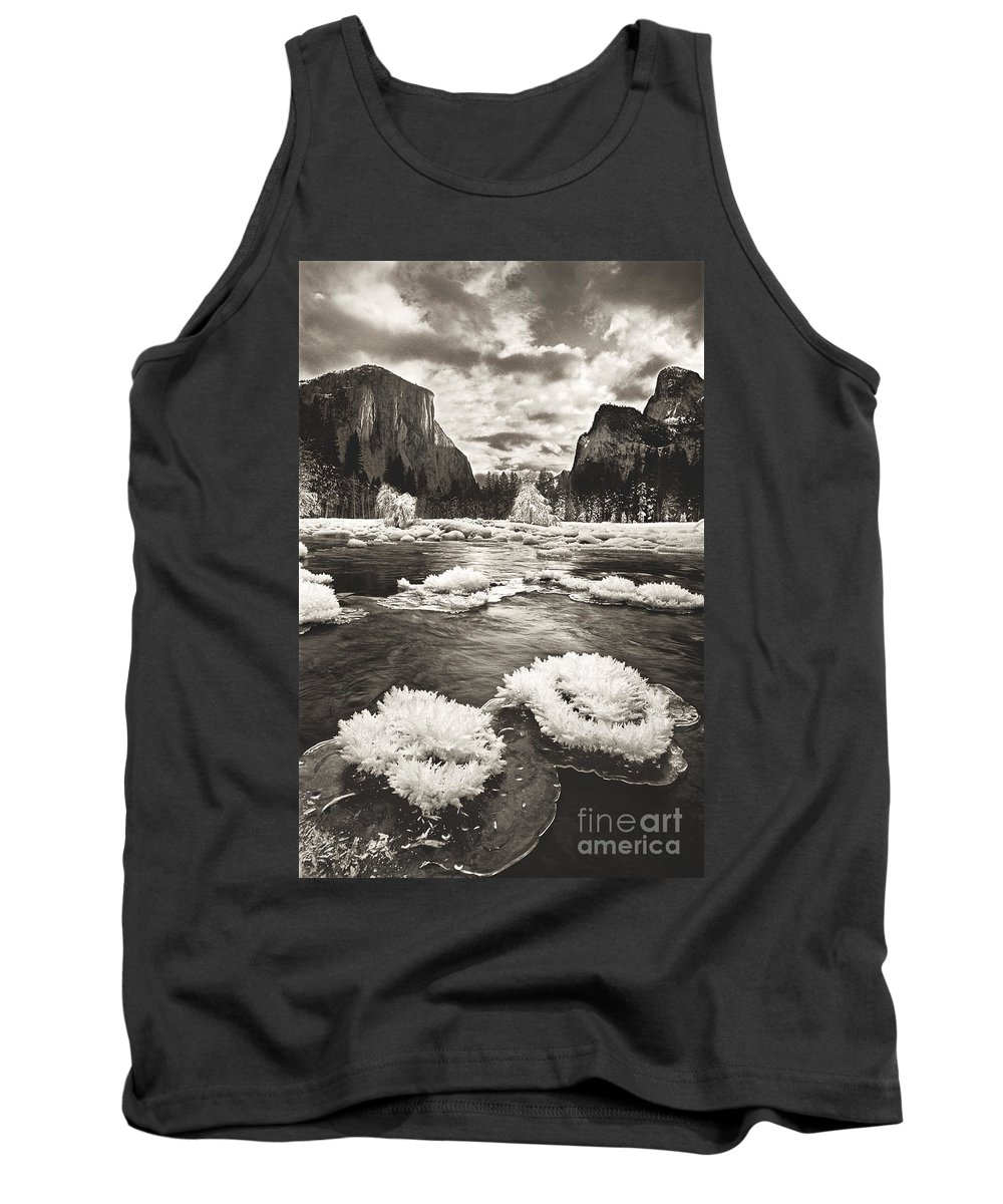 North America Tank Top featuring the photograph Rime Ice On The Merced In Black And White by Dave Welling
