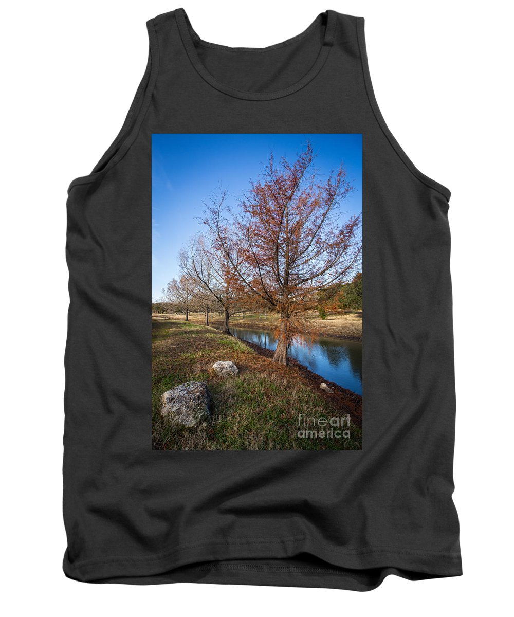 Austin Tank Top featuring the photograph River And Winter Trees by John Wadleigh