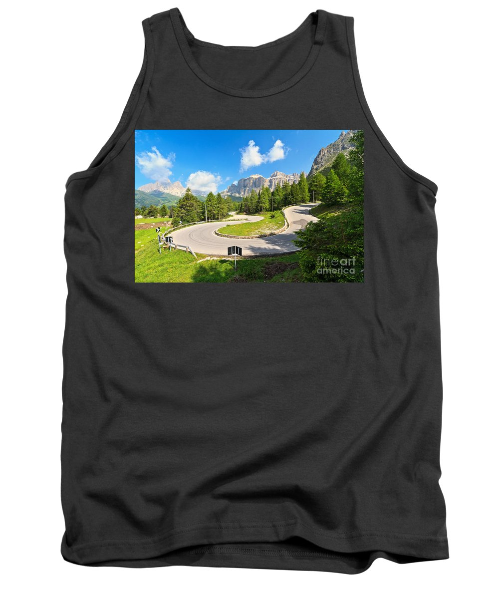 Alps Tank Top featuring the photograph road to Pordoi pass by Antonio Scarpi
