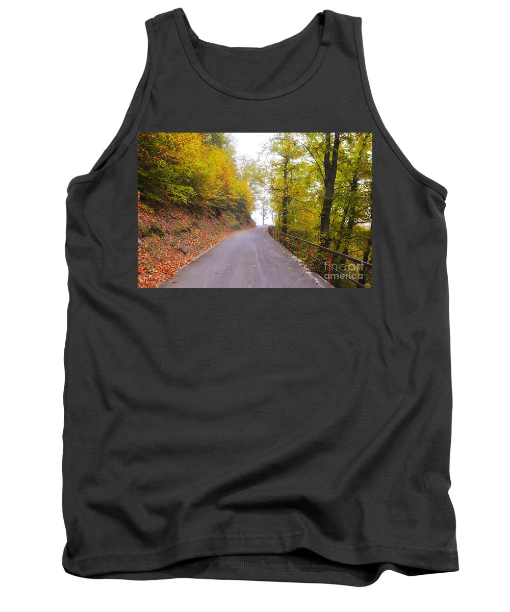 Road Tank Top featuring the photograph Road With Autumn Trees by Mats Silvan