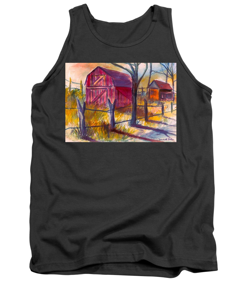 Barn Tank Top featuring the painting Roadside Barn by Kendall Kessler