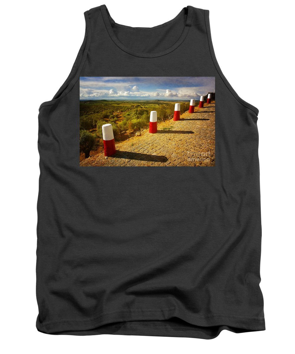 Red Tank Top featuring the photograph Roadside Pillars by Carlos Caetano