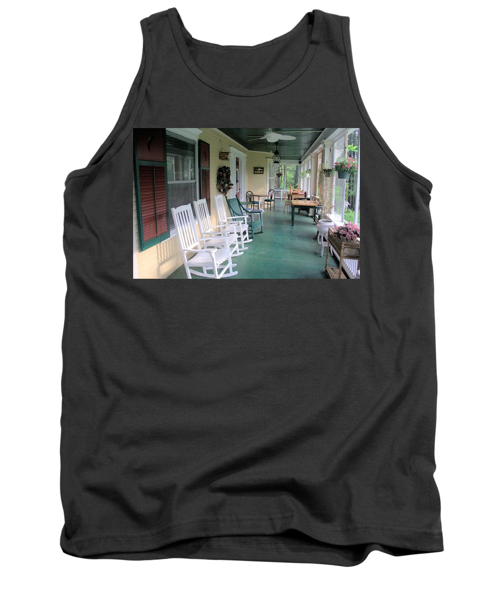 5958 Tank Top featuring the photograph Rockers On The Porch by Gordon Elwell