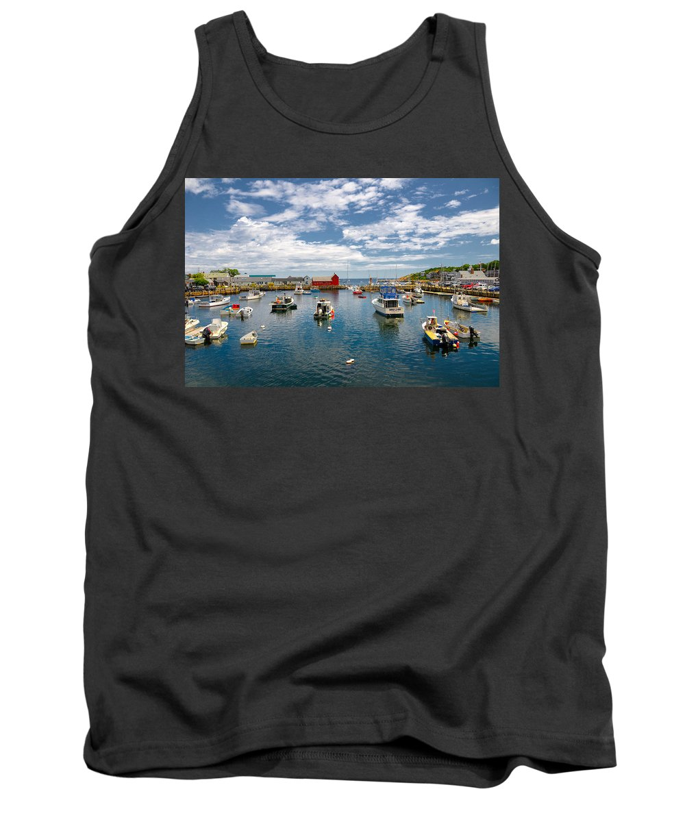Rockport Harbor Tank Top featuring the photograph Rockport Harbor by Liz Mackney