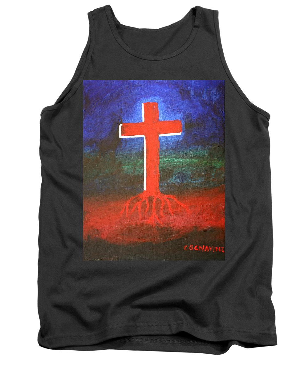 Cross Tank Top featuring the painting Rooted by Charles Benavidez