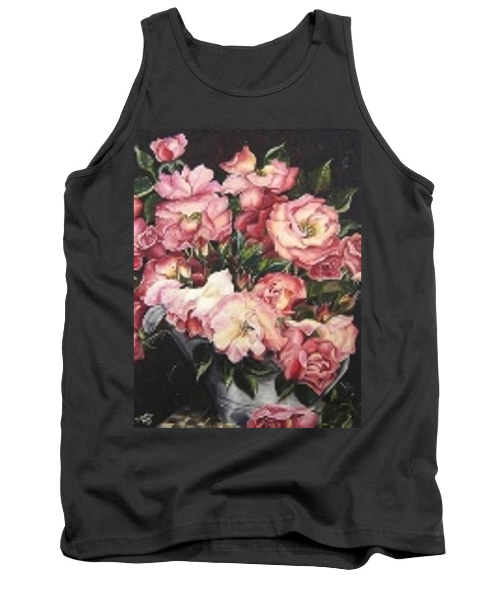 Pink Roses Floral Flowers Tank Top featuring the painting Roses in a watercan by Karin Dawn Kelshall- Best