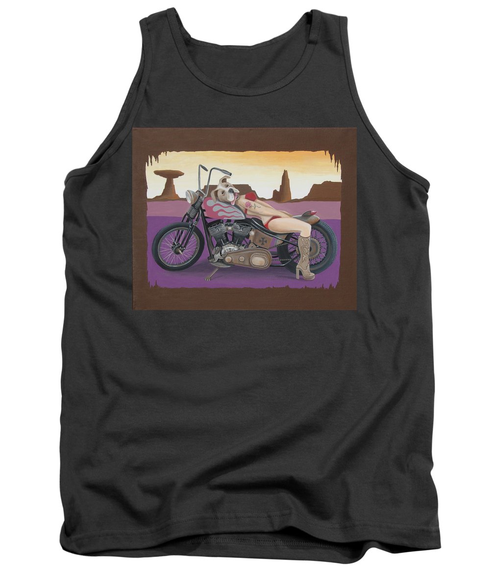 Motorcycle Tank Top featuring the painting Rosie The Pitbull Pinup by Stuart Swartz