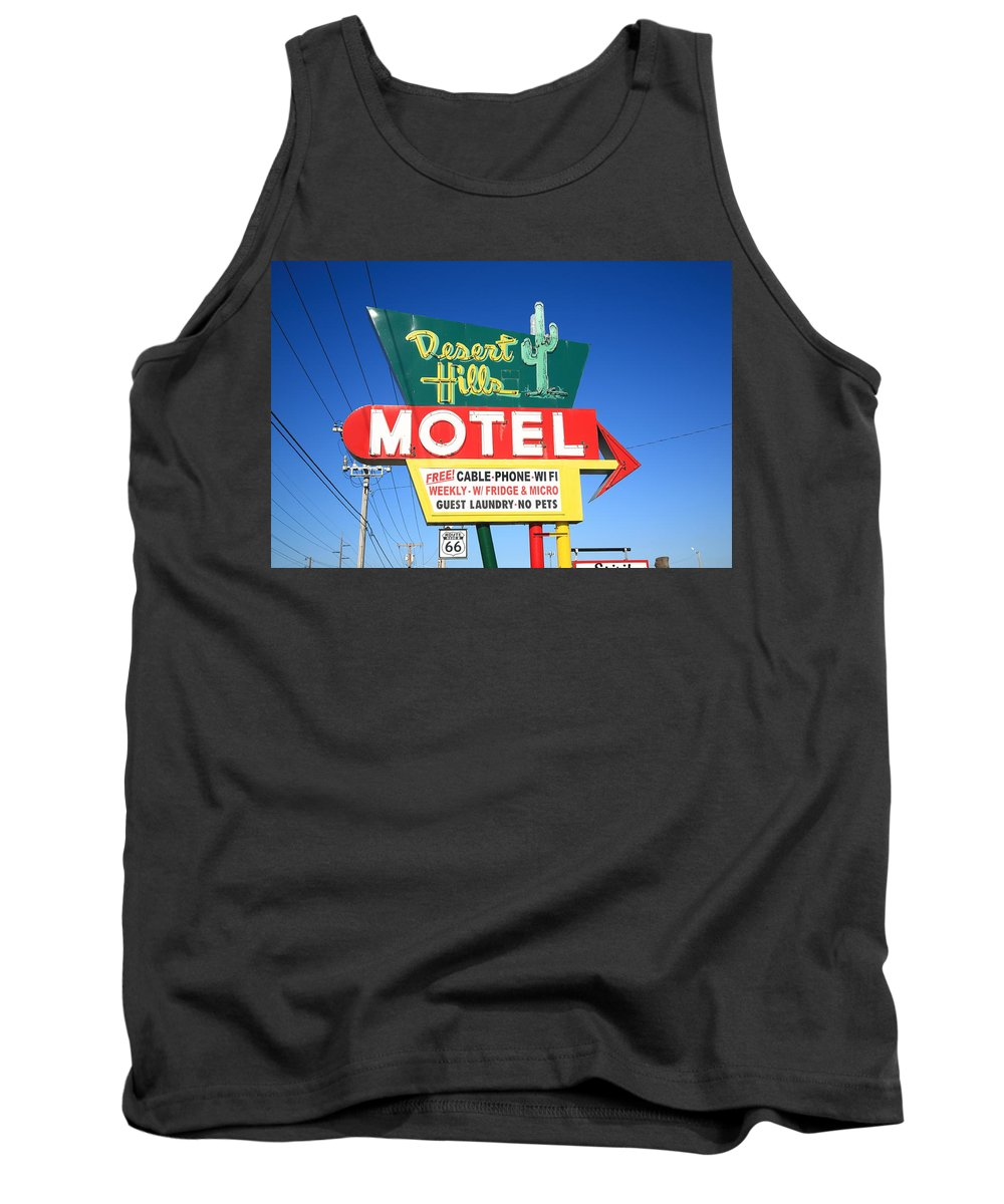66 Tank Top featuring the photograph Route 66 - Desert Hills Motel by Frank Romeo