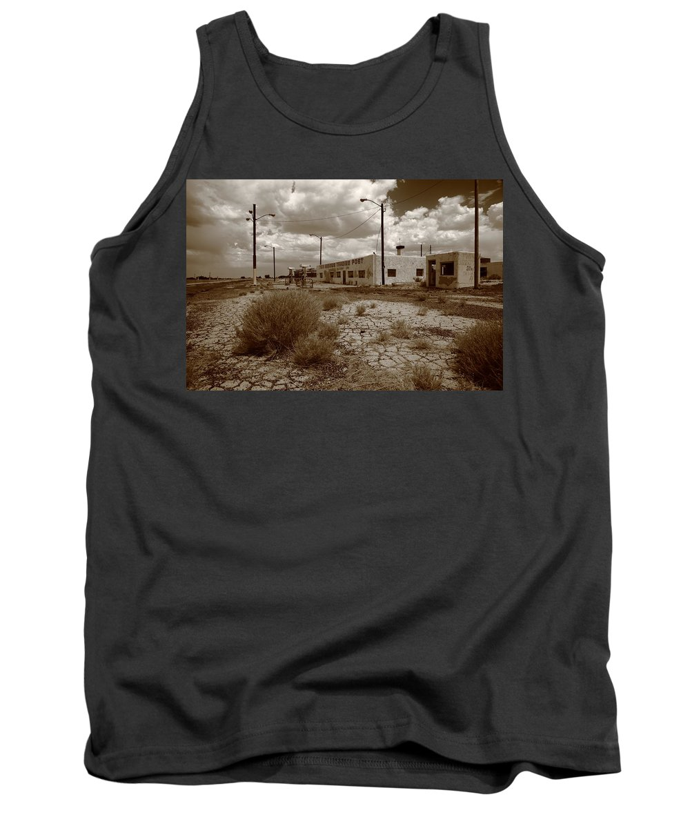 66 Tank Top featuring the photograph Route 66 - Twin Arrows Trading Post by Frank Romeo