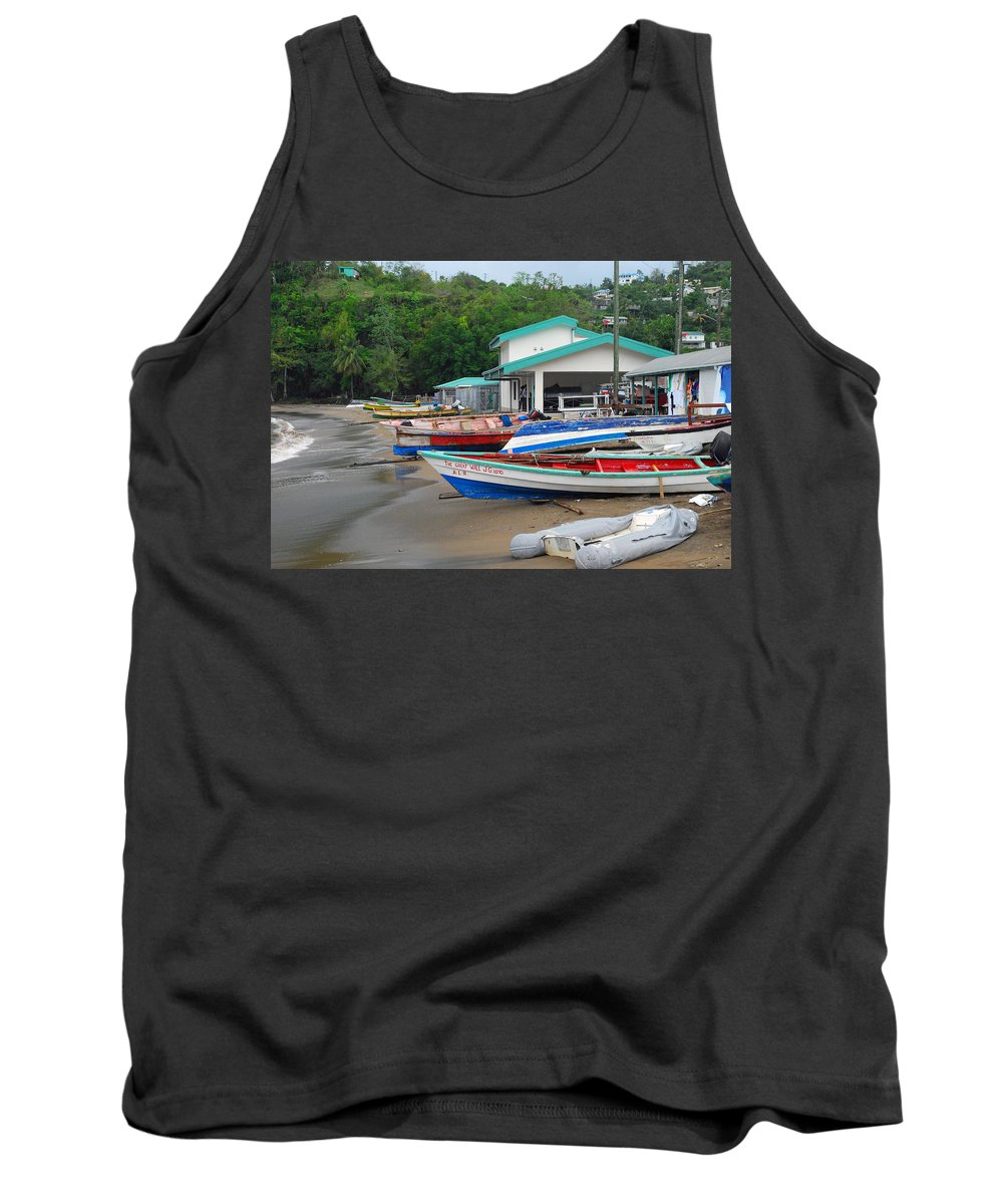 Caribbean Tank Top featuring the photograph Row Boats On Beach by Gary Wonning