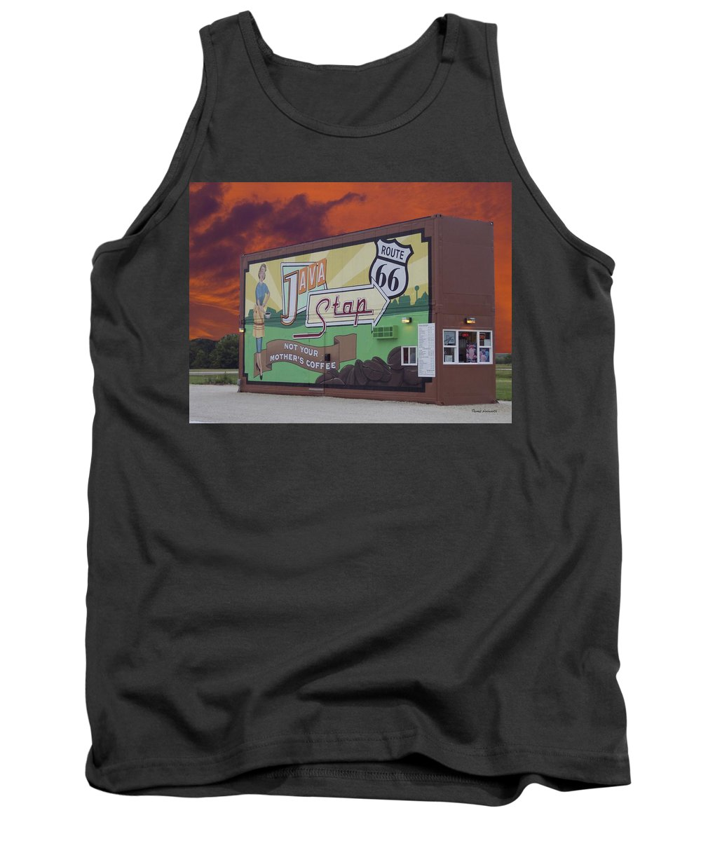 Java Tank Top featuring the photograph Rt 66 Dwight Il Java Stop by Thomas Woolworth