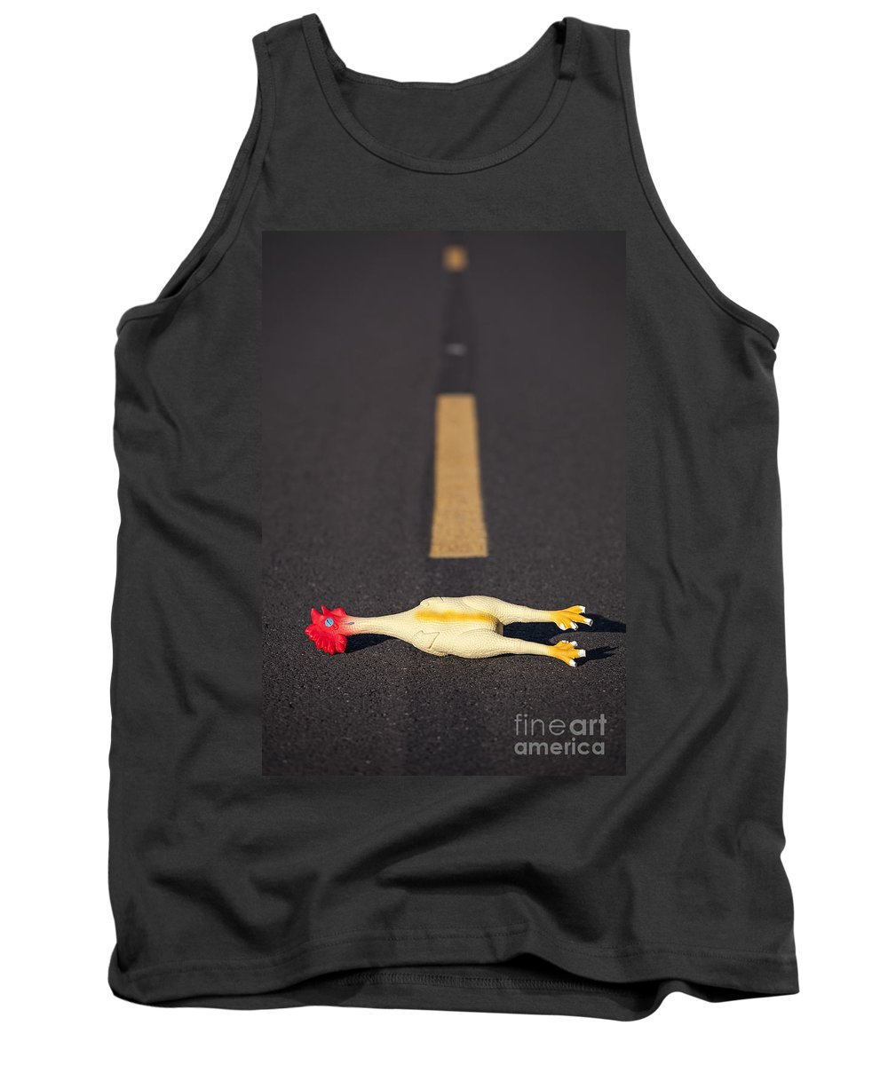 Animal Tank Top featuring the photograph Rubber Chicken On Road by Bryan Mullennix