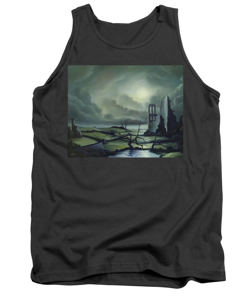Ruins; Cityscape; Landscape; Nightmare; Horror; Power; Roman; City; World; Lost Empire; Dramatic; Sky; Red; Blue; Green; Scenic; Serene; Color; Vibrant; Contemporary; Greece; Stone; Rocks; Castle; Fantasy; Fire; Yellow; Tree; Bush Tank Top featuring the painting Ruins of Cathedra by James Christopher Hill