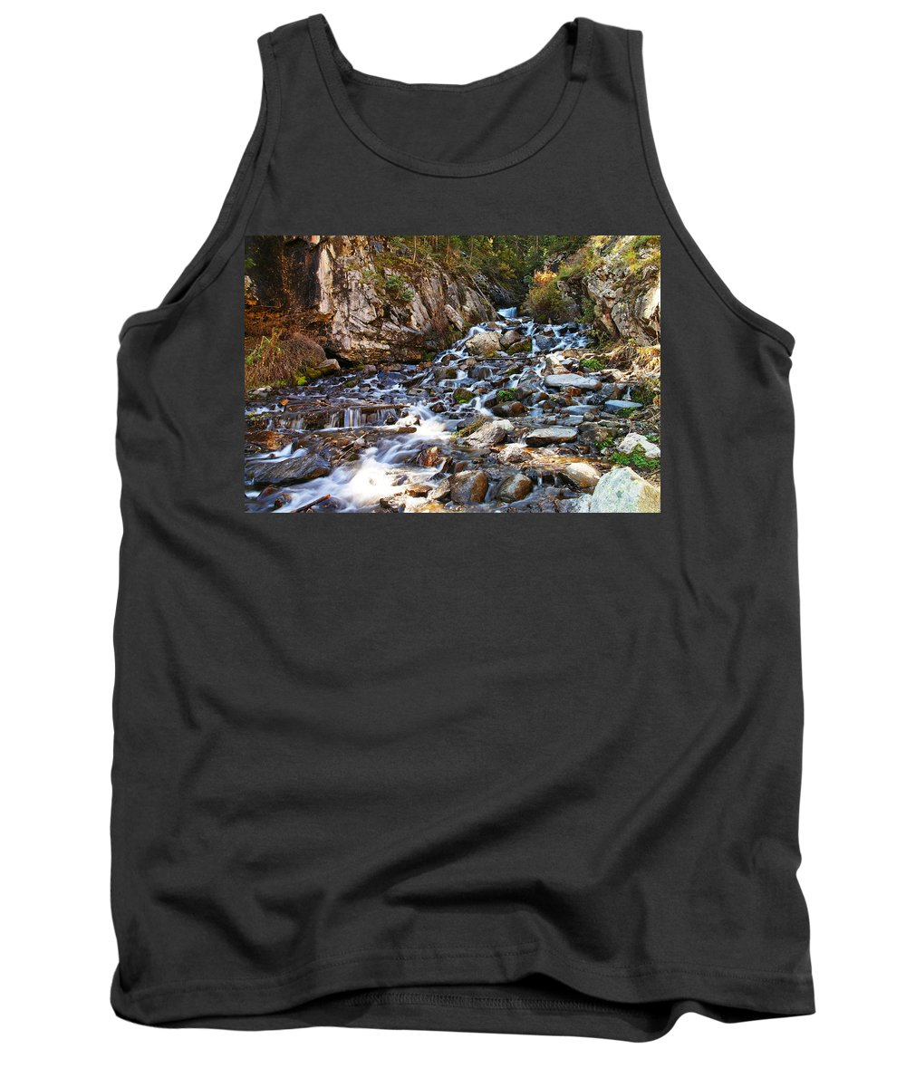 Rocks Tank Top featuring the photograph Running Through The Rocks by Jeff Swan