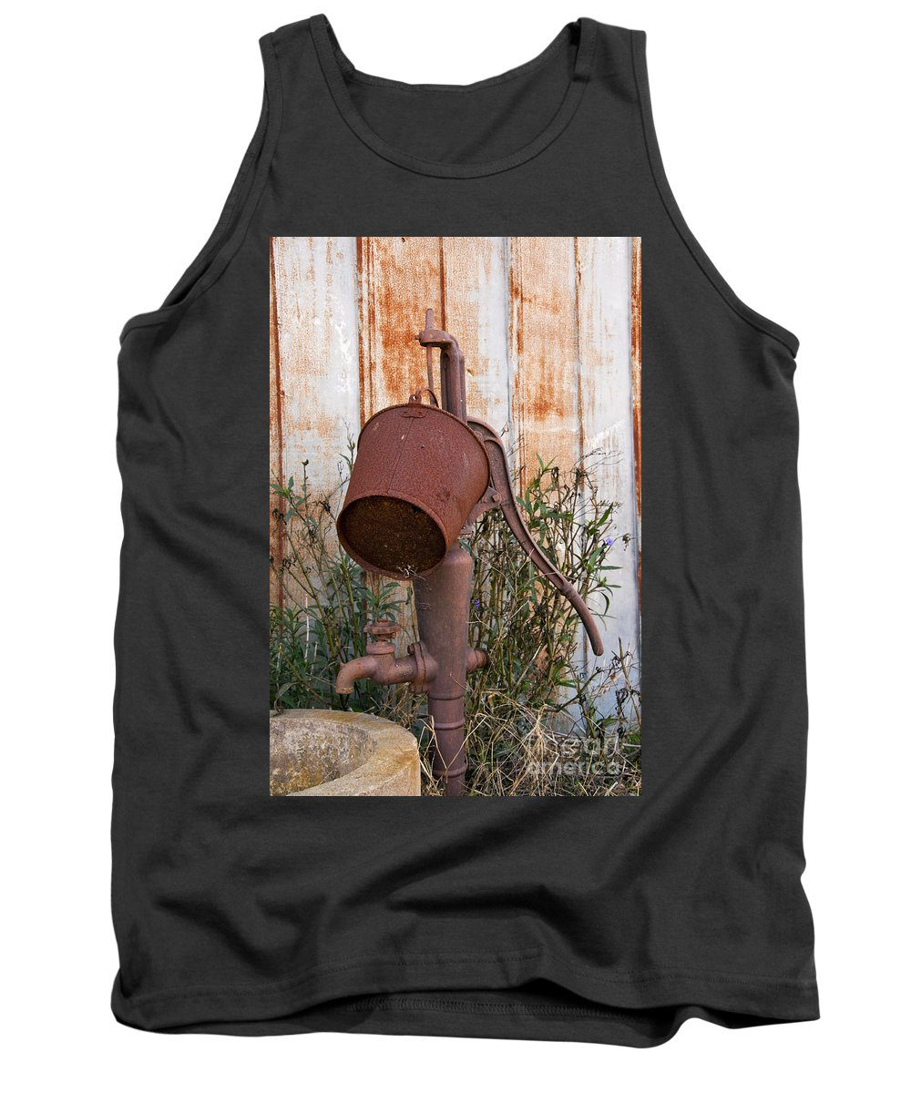 Schulenburg Texas Water Pump Pumps Rusted Bucket Buckets Texture Tank Top featuring the photograph Rusted And Out Of Use by Bob Phillips