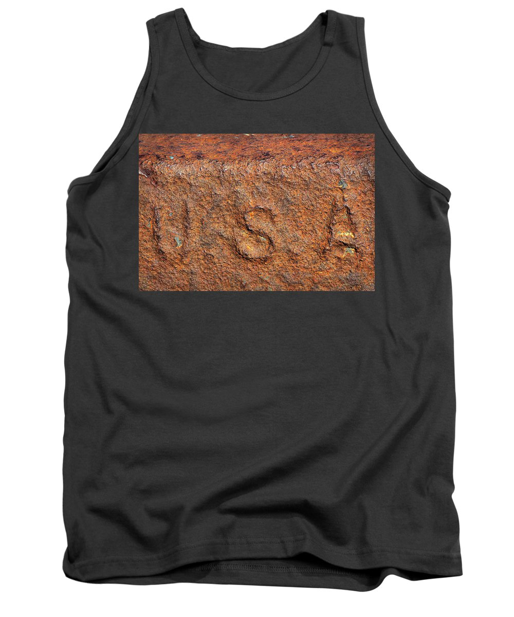 Usa Tank Top featuring the photograph Rusty Letters Usa by Phyllis Denton