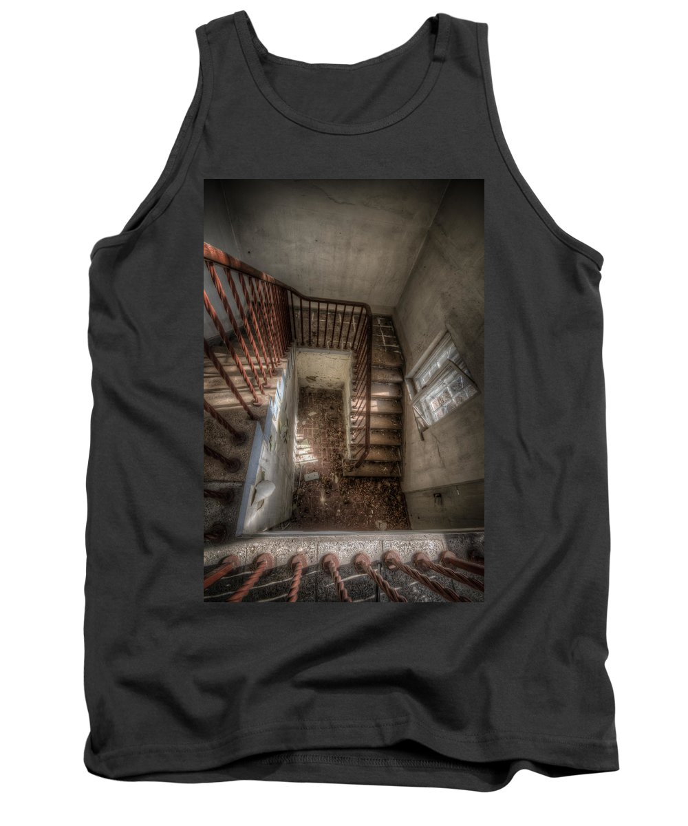 Urbex Tank Top featuring the digital art Rusty Stairs by Nathan Wright