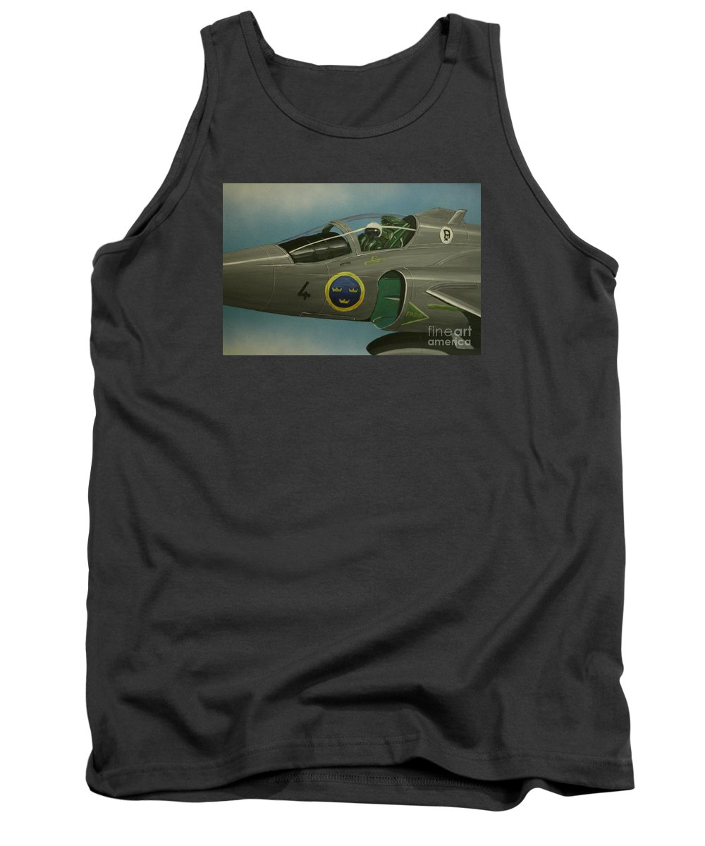 Swedish Air Force Tank Top featuring the painting Saab Viggen Gruppo 4 Cockpit by Richard John Holden RA