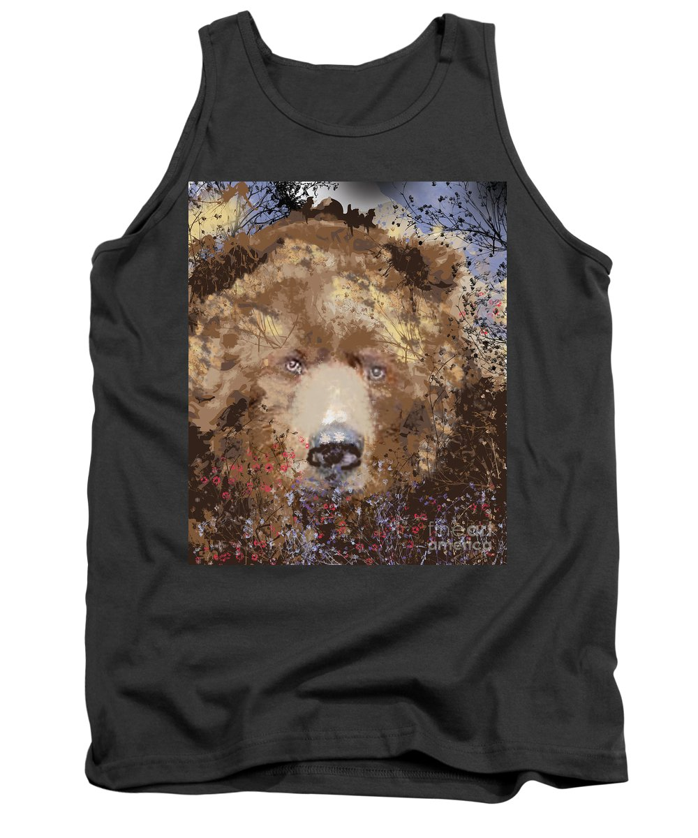 Brown Bear Tank Top featuring the digital art Sad Brown Bear by Kim Prowse