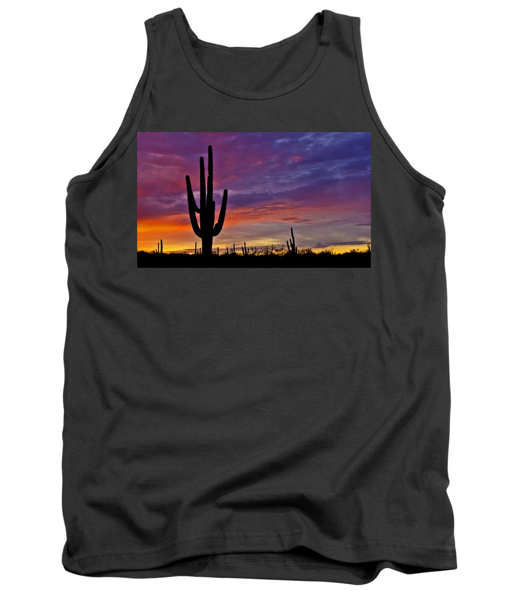 Saguaro National Park Tank Top featuring the photograph Saguaro Sunset by Patrick Moore