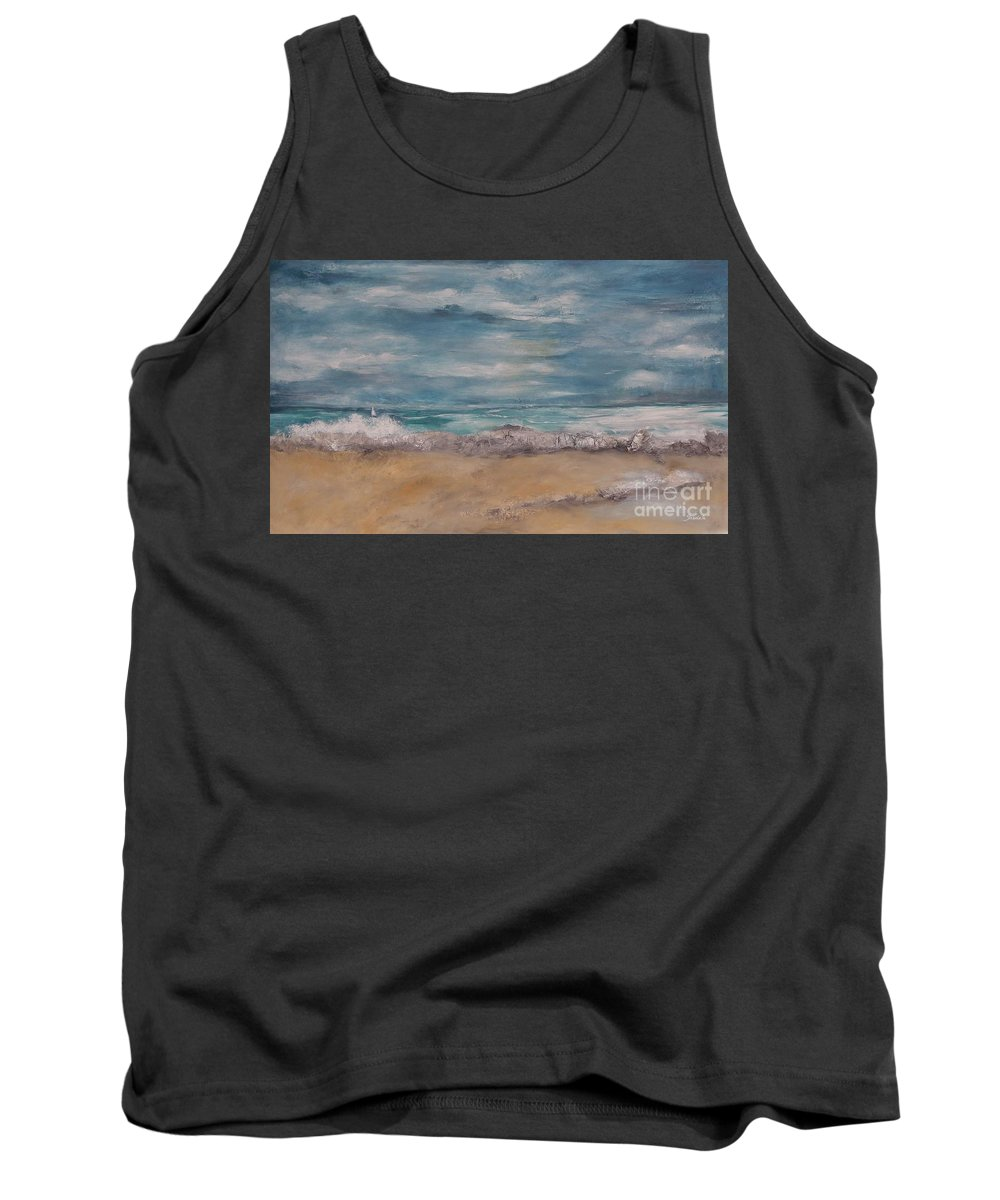 Modern Landscape Tank Top featuring the painting Sailboat by Graciela Castro