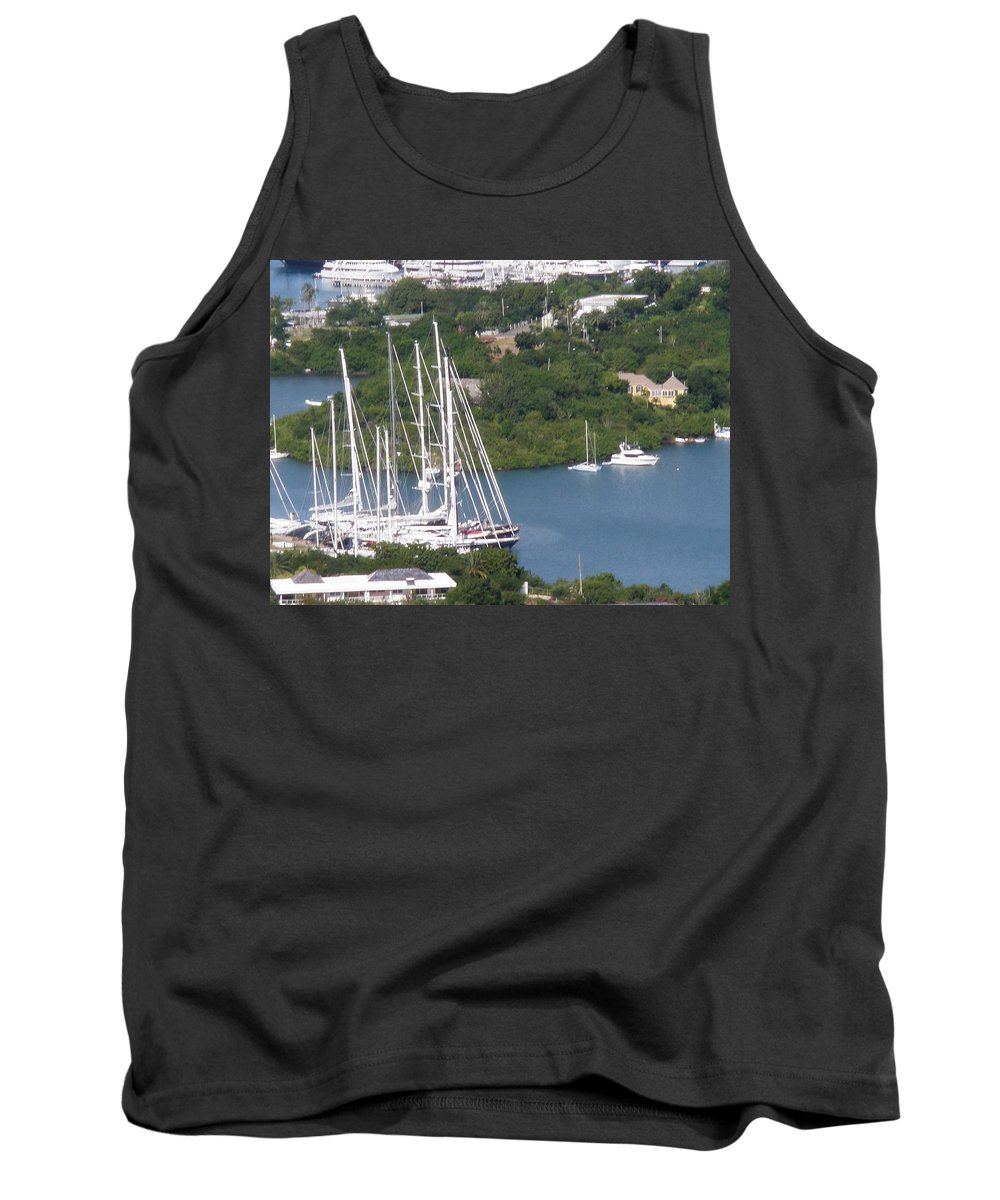 Green Tank Top featuring the photograph Sailboats by Gary Wonning