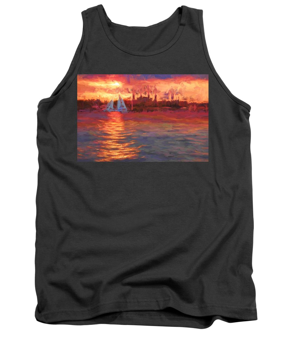 Sailboat Tank Top featuring the photograph Sailboatsunset by Alice Gipson
