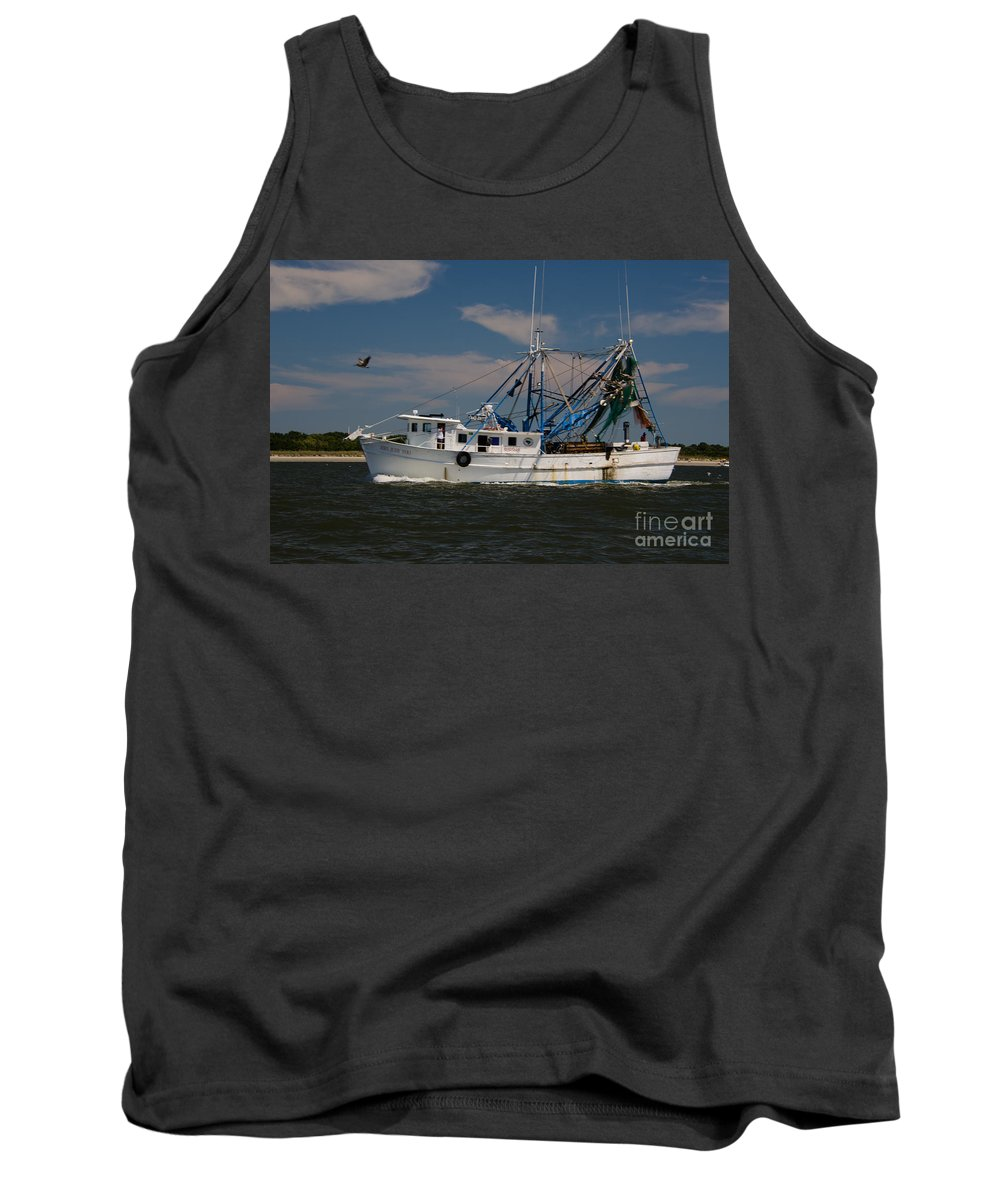 Shrimp Boat Tank Top featuring the photograph Sailing Along by Dale Powell