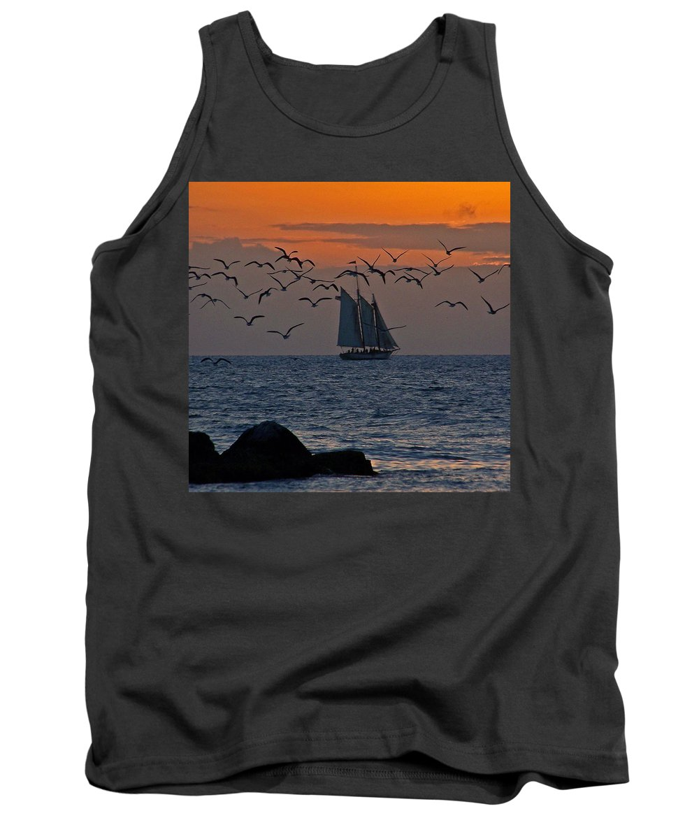 Birds Tank Top featuring the photograph Sailing by Jennifer Robin