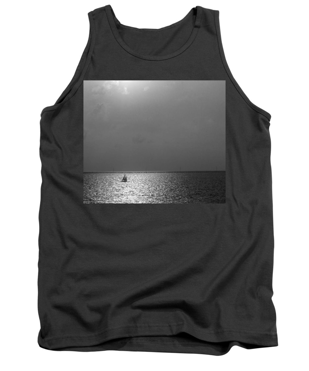 Sailboat Tank Top featuring the photograph Sailing On Sunset by Patti Colston